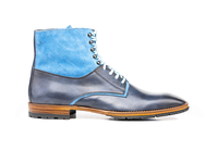 Shoes  - Adriano - Blue Calf Crust Suede Leather Men Ankle Boot