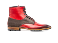 Shoes  - Adriano - Red Calf Crust Coffee Suede Leather Men Ankle Boot