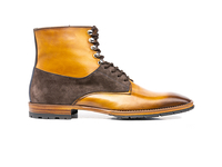 Shoes  - Adriano - Tan Calf Crust Coffe Suede Leather Men Ankle Boot