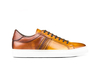 Caracalla - Low top brown calf crust leather sneakers