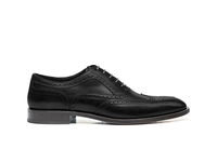 Shoes  - Fred - Black Calf Leather Men Oxford Wing Brogue