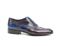 Shoes  - Fred - Blue Purple Polished Leather Men Oxford Wing Brogue