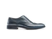 Shoes  - Fred - Navy Calf Leather Men Oxford Wing Brogue