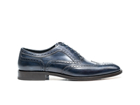 Shoes  - Fred - Navy Deco Leather Men Oxford Wing Brogue