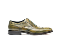 Shoes  - Fred - Olive Deco Leather Men Oxford Wing Brogue