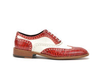 Shoes  - Fred - Red Crocodile Leather Men Oxford Wing Brogue