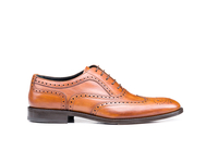 Shoes  - Fred - Tan Deco Leather Men Oxford Wing Brogue