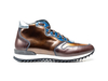 Romano - Blue coffee bronze polished leather high top running