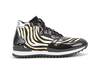 Romano - High top running black shiny leather zebra
