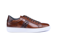 Tiziano - Low top coffee deco leather sneakers