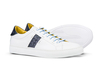 Tiziano - Low top white calf navy deco leather sneakers